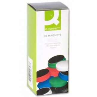 Imanes para sujeción Q-Connect ideal para pizarras magneticas 25 mm colores surtidos caja de 10 imanes