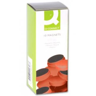 Imanes para sujeción Q-Connect ideal para pizarras magneticas 35 mm color rojo caja de 10 imanes