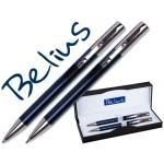 Juego Belius bolígrafo y portaminas color azul lisboa en estuche