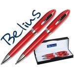 Juego Belius bolígrafo y portaminas color rojo malaga en estuche