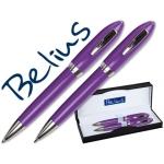 Juego Belius bolígrafo y portaminas color violeta malagaen estuche