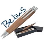 Juego Belius bolígrafo y portaminas monaco cuerpo de madera clara con acabados cromados en estuche