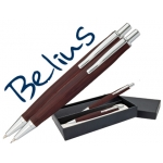 Juego Belius bolígrafo y portaminas monaco cuerpo de madera oscura con acabados cromados en estuche