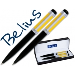 Juego Belius lacado color negro amarillo bolígrafo y portaminas en estuche