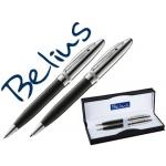 Juego de bolígrafo y portaminas Belius brighton color negro lacado con detalles cromados en estuche