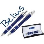 Juego de bolígrafo y portaminas Belius kassel color azul con detalles plateados en estuche