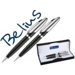 Juego de bolígrafo y portaminas Belius varsovia color negro lacado con detalles cromados en estuche