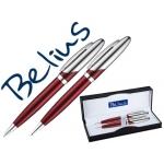 Juego de bolígrafo y portaminas Belius varsovia color rojo lacado con detalles cromados en estuche