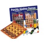 Juego de mesa parchis-ajedrez-damas con accesorios