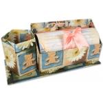 Juego escritorio en caja con cubilete 20 hojas 10 sobres motivos flores