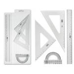 Juego escuadra cartabón Mor 20 cm regla 30 cm y semicirculo10 cm plástico cristal en petaca