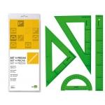 Juego escuadra cartabón regla 30 cm s y semicírculo en petacaliderpapel color verde