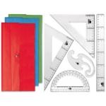 Juego escuadra y cartabón 25 cm regla 30 cm semicírculo 15 cm y plantilla de curvas liderpapelen petaca opaca colores stdos