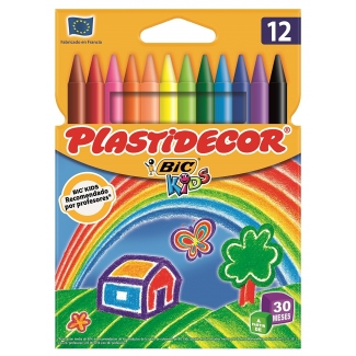 Bic Plastidecor E5432C - Ceras duras, caja de 12 colores