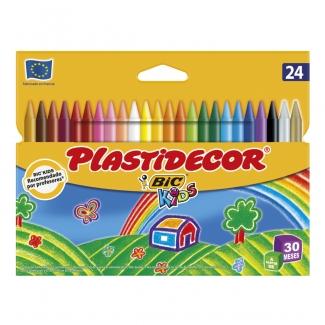 Bic Plastidecor E5444C - Ceras duras, caja de 24 colores
