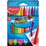 Lápices de cera Maped plasticlean caja de 12 colores surtidos