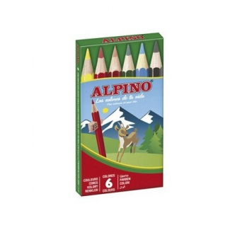 Alpino 651 - Lápices de colores, caja de 6 colores cortos