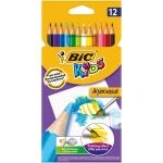Lapices de colores Bic kid estuche de 12 colores acuarelables madera alta calidad