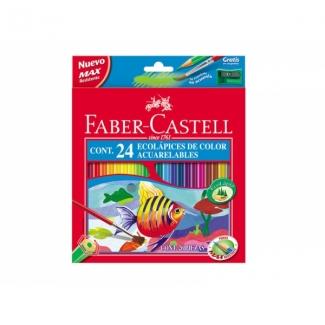 Faber-Castell 120224 - Lápices de colores acuarelables, caja de 24 colores