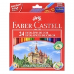 Faber-Castell 120124 - Lápices de colores, caja de 24 colores, con sacapuntas