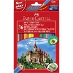 Faber-Castell 120136 - Lápices de colores, caja de 36 colores, con sacapuntas
