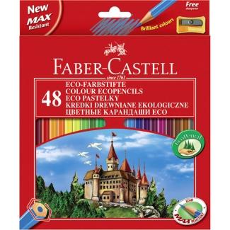 Faber-Castell 120148 - Lápices de colores, caja de 48 colores, con sacapuntas