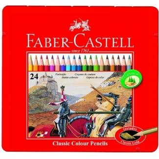 Faber-Castell 115845 - Lápices de colores, caja metálica de 24 colores
