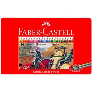 Faber-Castell 115886 - Lápices de colores, caja metálica de 36 colores