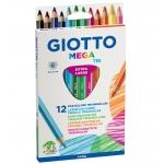 Lapices de colores Giotto mega tri caja de 12 colores mina 5,5 mm