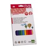 Liderpapel LC02 - Lápices de colores, jumbo, caja de 12 colores, con sacapuntas