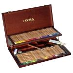 Lápices de colores Lyra rembrandt acuarelable 96 colores estuche madera+lapiz negro+cuchilla+tabla