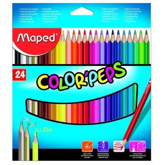 Maped Color Peps 183224 - Lápices de colores, caja de 24 colores