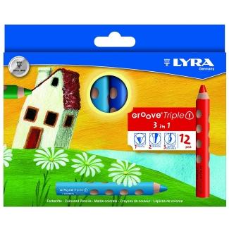 Lyra Groove Tripletriangular 3831120 - Lápices de colores acuarelables, caja de 12 colores