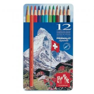 Caran d'Ache Prismalo Aquarelle CD999-312 - Lápices de colores acuarelables, caja metálica de 12 colores