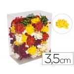 Lazos fantasía adhesivos 3,5 cm diámetro de caja de 75 unidades