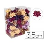Lazos fantasía adhesivos 3,5 cm diámetro de colores pasteles caja de 75 unidades