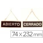 Letrero metálico serigrafiado abierto y cerrado con cadena y ventosa para colgar de 74x232 mm