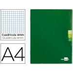 Libreta Liderpapel scriptus tamaño A4 48 hojas 90 gr/m2 cuadrícula de 4 mm con margen color verde
