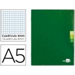 Libreta Liderpapel scriptus tamaño A5 48 hojas 90 gr/m2 cuadrícula de 4 mm con margen color verde