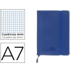 Libreta Liderpapel simil piel A6 120 hojas 70 gr/m2 cuadrícula de 5 mm sin margen azul