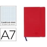 Libreta Liderpapel simil piel A6 120 hojas 70 gr/m2 cuadrícula de 5 mm sin margen rojo