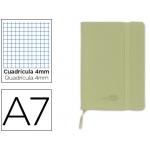 Libreta Liderpapel simil piel A6 120 hojas 70 gr/m2 cuadrícula de 5 mm sin margen verde