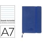 Libreta Liderpapel simil piel A6 120 hojas 70 gr/m2 horizontal sin margen azul