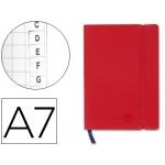 Liderpapel LG09 - Libreta encolada, tapa símil piel, tamaño A7, 120 hojas de 70 gr, cuadriculado con índice, sin margen, color rojo