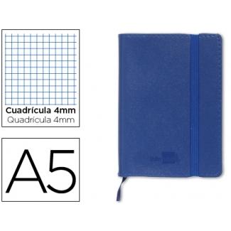 Libreta Liderpapel simil piel tamaño A5 120 hojas 70 gr/m2 cuadrícula de 5 mm sin margen azul