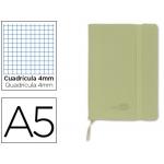 Libreta Liderpapel simil piel tamaño A5 120 hojas 70 gr/m2 cuadrícula de 5 mm sin margen verde