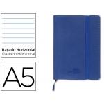 Libreta Liderpapel simil piel tamaño A5 120 hojas 70 gr/m2 horizontal sin margen azul