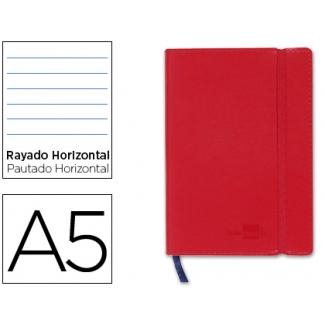 Libreta Liderpapel simil piel tamaño A5 120 hojas 70 gr/m2 horizontal sin margen rojo
