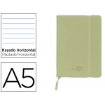 Libreta Liderpapel simil piel tamaño A5 120 hojas 70 gr/m2 horizontal sin margen verde