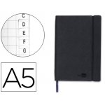 Libreta Liderpapel simil piel tamaño A5 120 hojas 70 gr/m2 índice negro